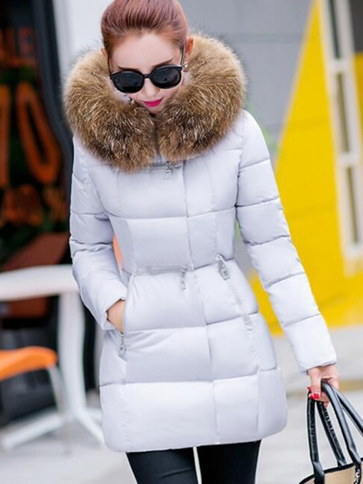 Slim Fit Faux Fur Hooded Women's Down Parka Puffer Overcoat