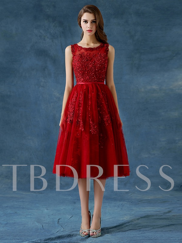 Image of A-Line Scoop Appliques Beading Button Tea-Length Prom Dress