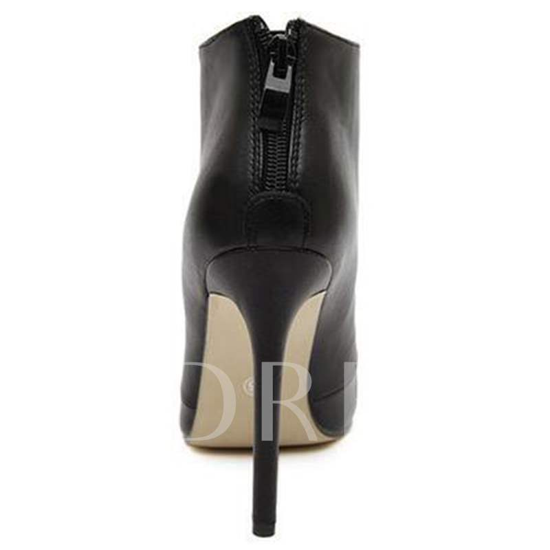 Pointed Toe Back Zipper Ankle Short Floss Women's Boots