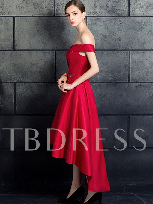 Off-the-Shoulder Beaded Bowknot Hollow Lace Prom Dress