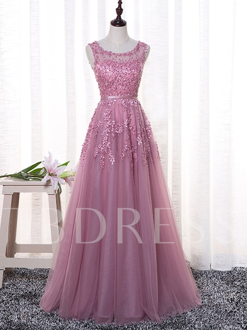 Sashes A-Line Pearls Scoop Appliques Floor-Length Evening Dress