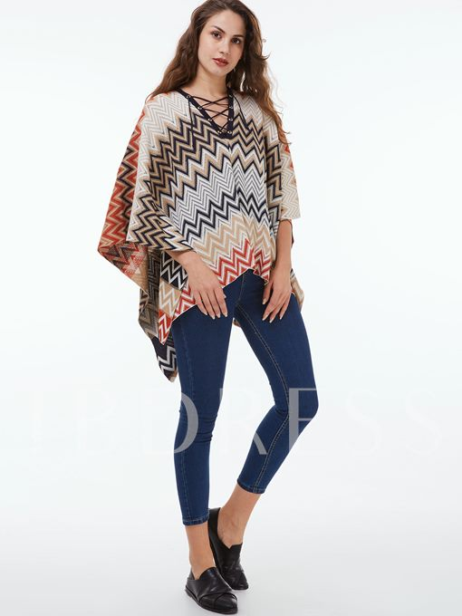 Asymmetric Stripe Pullover V-Neck Women's Cape