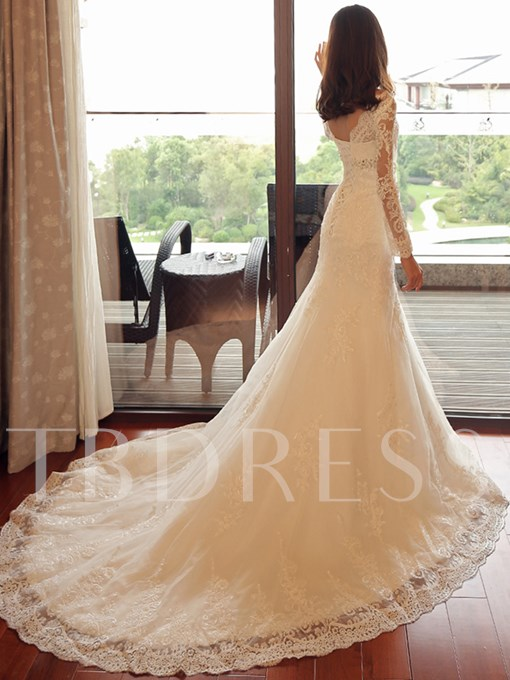 V-Neck Long Sleeves Lace Mermaid Wedding Dress
