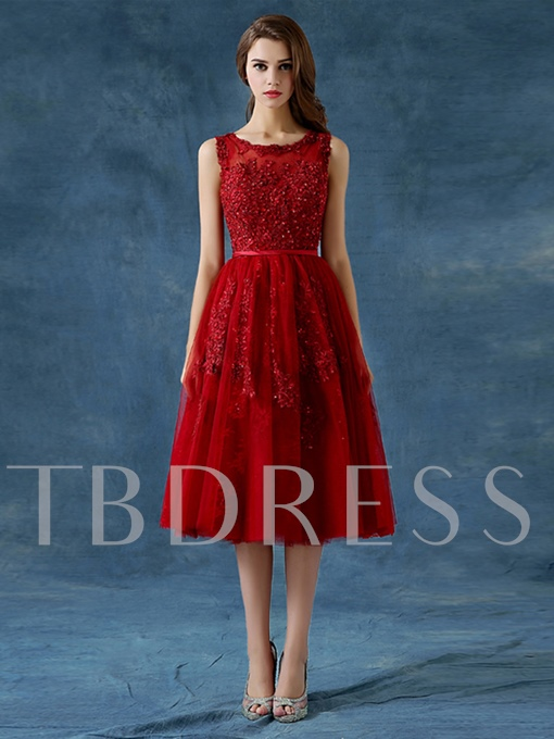 A-Line Scoop Appliques Beading Button Tea-Length Prom Dress