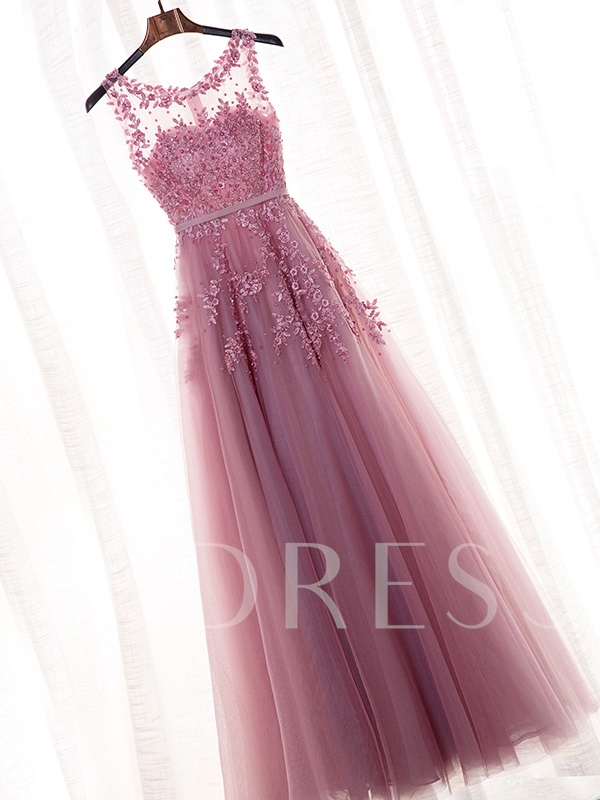 Scoop Neck Pearls Appliques Prom Dress