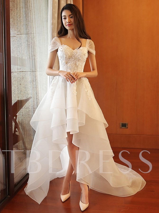 Cap Sleeve Appliques Beading High Low Beach Wedding Dress