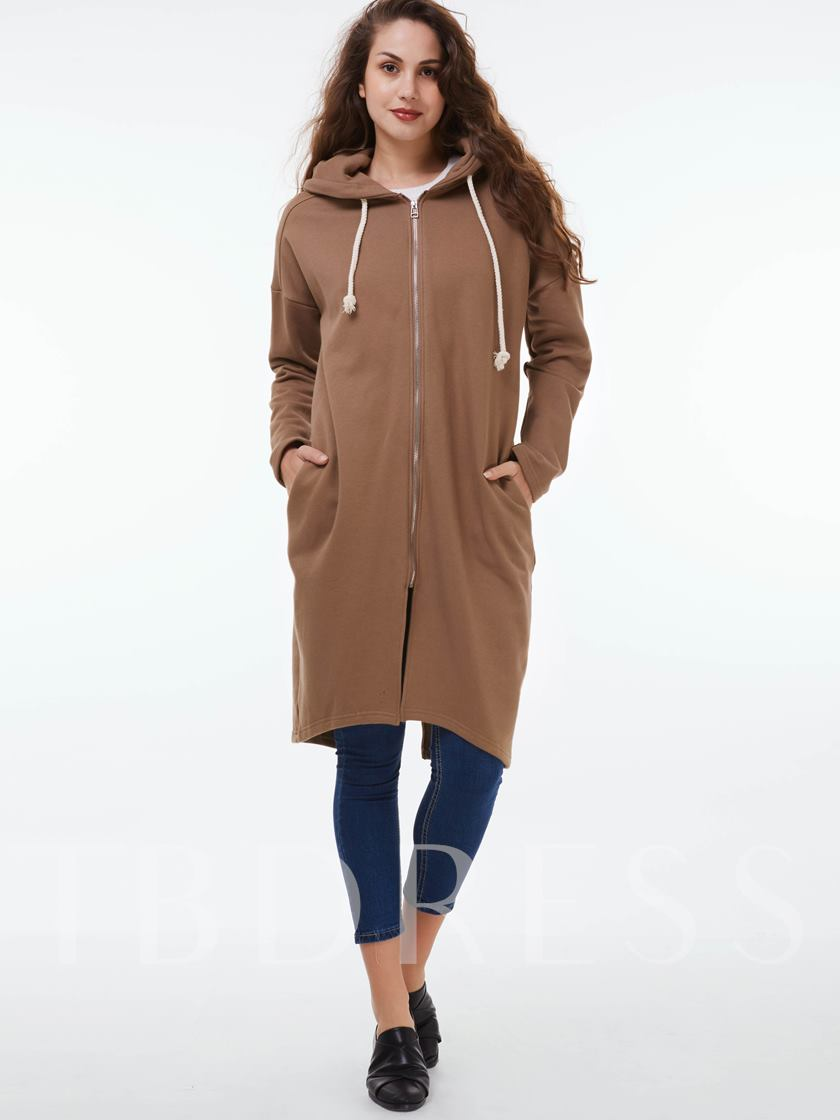 People Print Straight Zipper Hooded Long Sleeve Women's Trench Coat