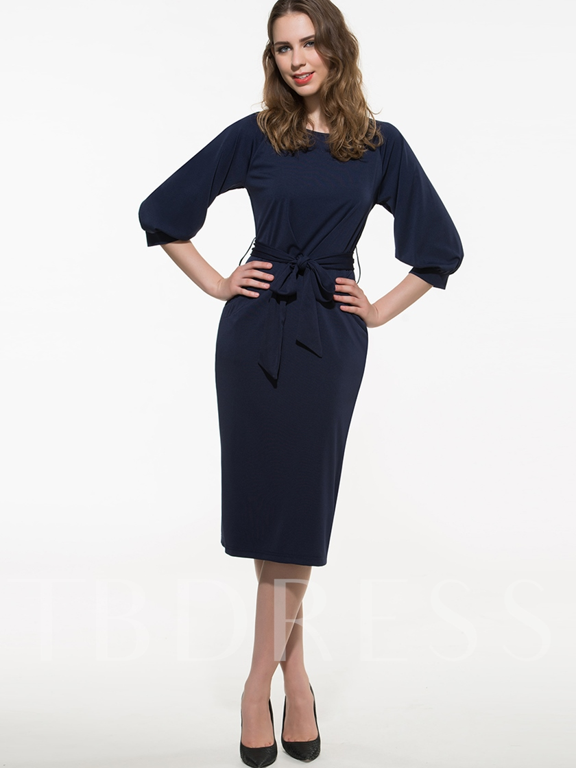 Royal Blue Round Neck Three-Quarter Sleeve Women's Day Dress