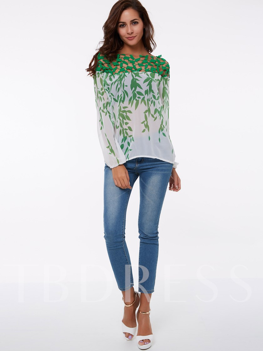 Boat Neck Off Shoulder Hollow Lace Women's Vacation Blouse