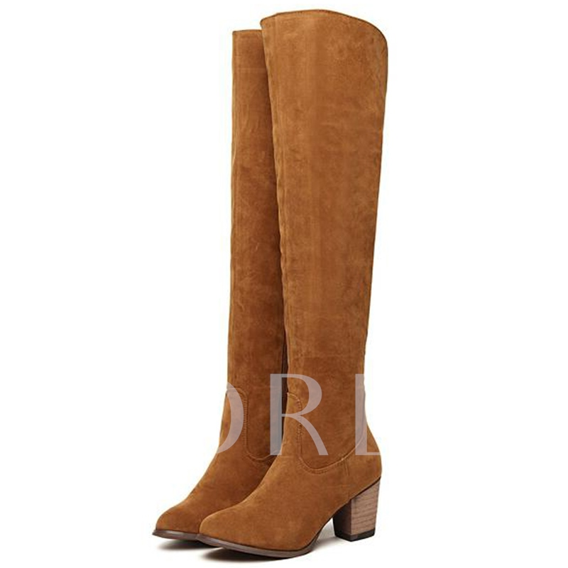 Short Floss Side Zipper Suede Round Toe Over-the-Knee Women's Boots
