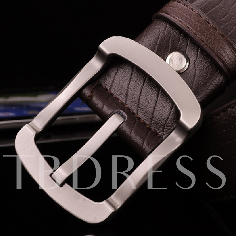 Serpentine Artificial Leather Pin Buckle Design Men's Belt