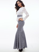 Falbala Stand Collar Lace Polka Dots Women's Maxi Dress