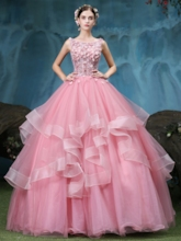 Ball Gown Beading Lace Tiered Quinceanera Dress