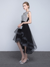 Scoop A-Line Beading Asymmetry Prom Dress