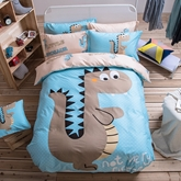 Cartoon Dinosaur Pattern Cotton Blue Duvet Covers/Bedding Sets