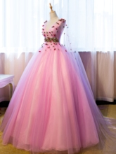 V-Neck Flowers Sleeves Quinceanera Dress