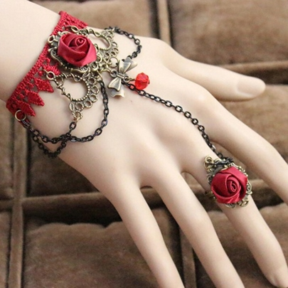 Vintage Red Lace Bracelet with Ring