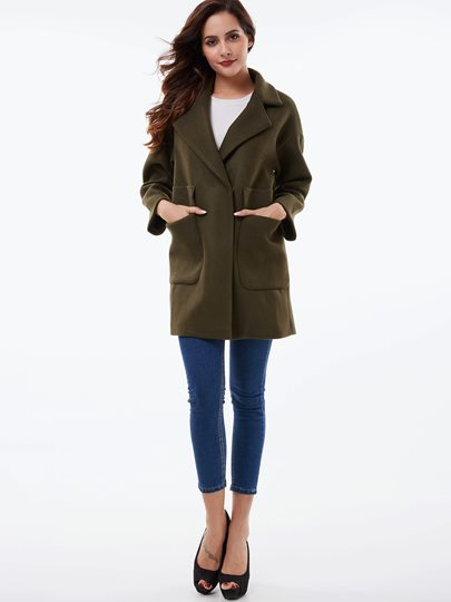 Big Pocket Hidden Button Fitted Women's Overcoat