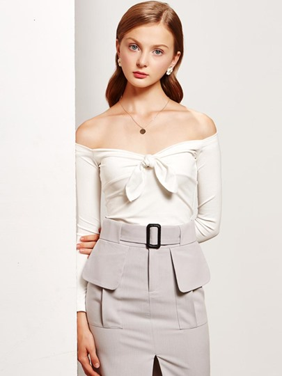 Solid Color Bow Knot Sexy Women's Blouse