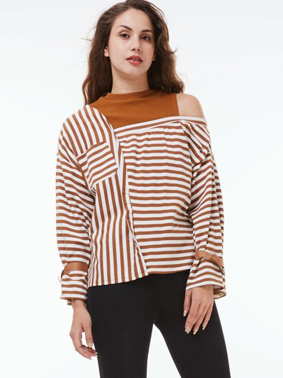Stripe One Shoulder Off Round Neck Long Sleeve Women's Sweatshirt