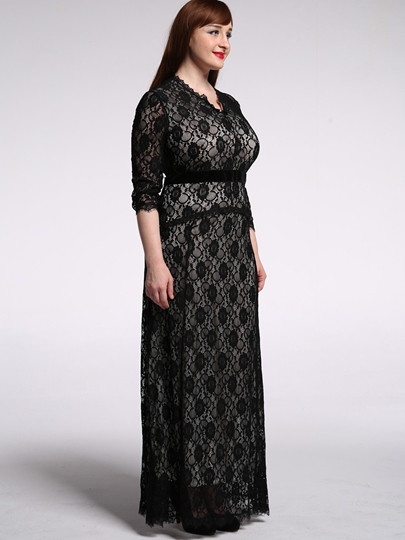Lace Floral V-Neck Women's Maxi Dress (Plus Size Available)