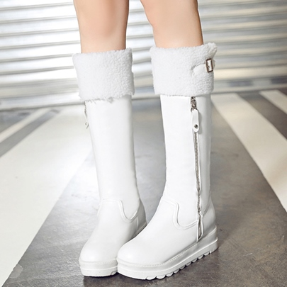 Side Zipper Knee-High Buckle Platform Women's Boots
