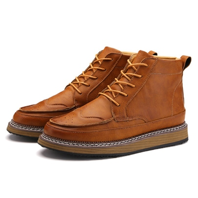 Round Toe Cross Strap Men's Ankle Boots