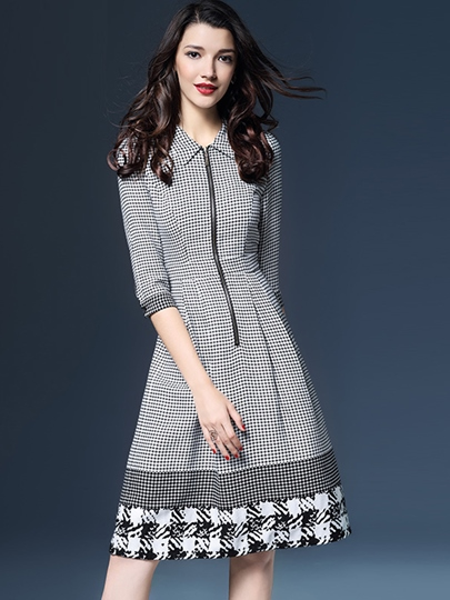 Houndstooth Zipper Lapel Women's Day Dress