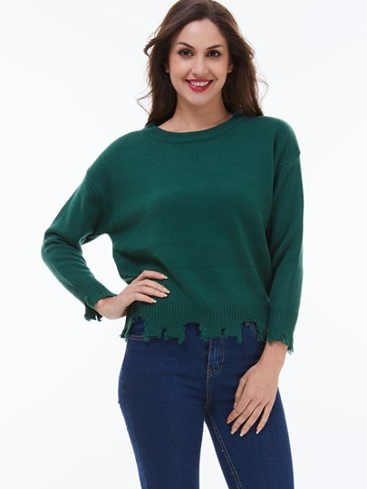 Solid Color Special Trim Loose Women's Sweater