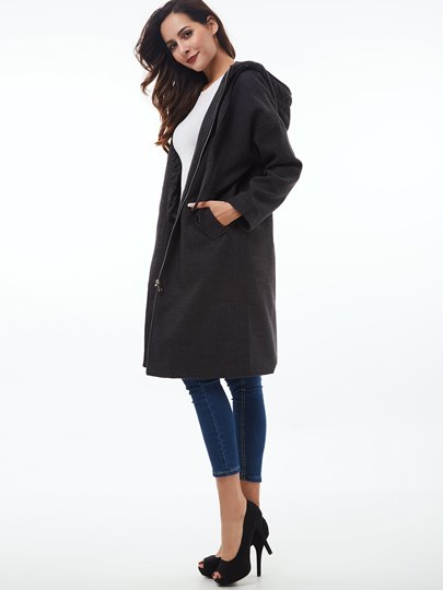 Zipper Pockets Thick Hooded Women's Trench Coat