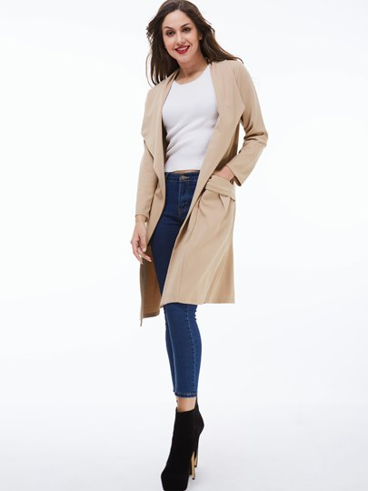 Solid Color Wrapped Double Pocket Notched Lapel Long Sleeve Women's Trench Coat