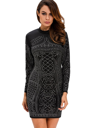Turtle Neck Rhinestones Women's Long Sleeve Dress