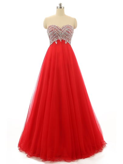 Rhinestone A-Line Beading Sweetheart Long Prom Dress