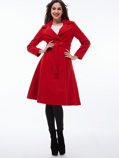 Solid Color Two Buttons Belted Waist Women's Trench Coat