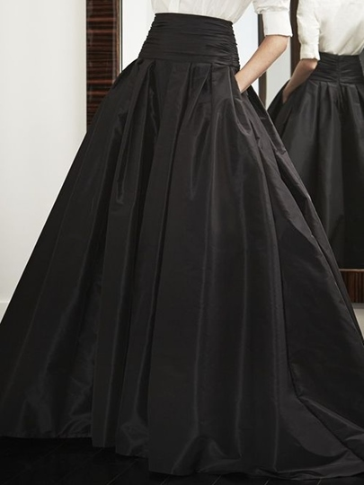 High Waist Black Pleated Long Maxi Skirt