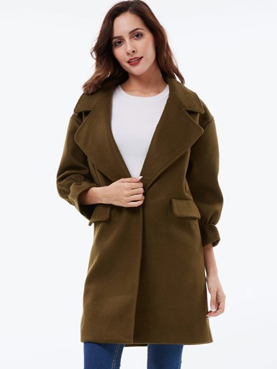 Hidden Button Lapel Long Sleeve Women's Overcoat