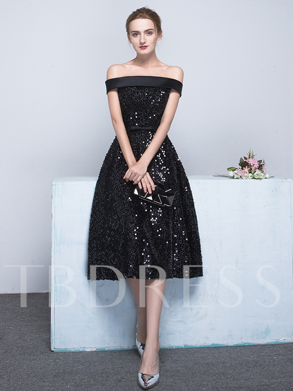 Image of A-Line Off-the-Shoulder Bowknot Sashes Sequins Tea-Length Evening Dress