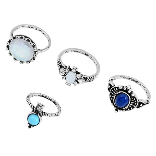 Multicolor Resin Four Pieces Ring Set