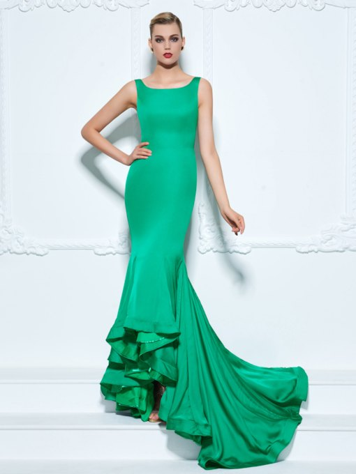 Straps Ruffles Trumpet Court Train Evening Dress