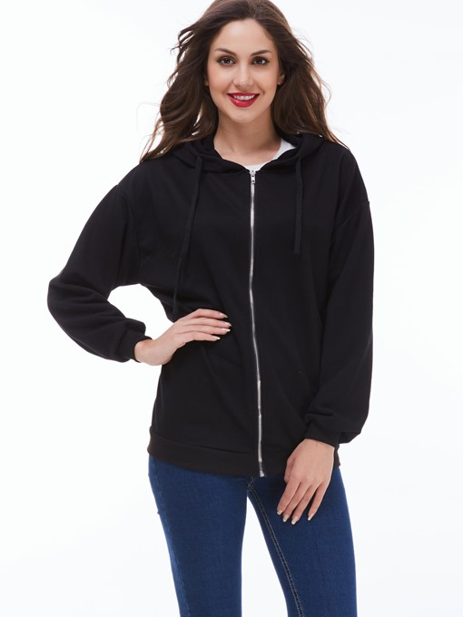 Hooded Zipper Round Neck Long Sleeve Women's Hoodie