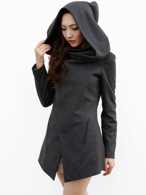 Asymmetric Hidden Button Standard Women's Overcoat