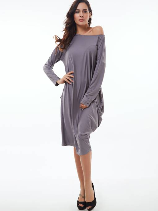 Slash Neck Plain Loose Women's Long Sleeve Dress