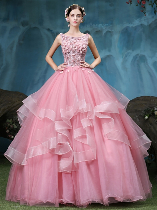 Bateau Ball Gown Beading Lace Pick-Ups Floor-Length Quinceanera Dress