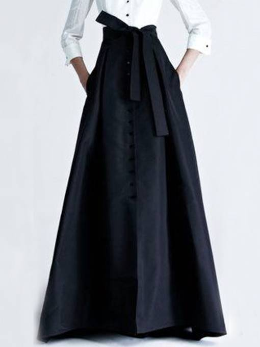 Black Falbala Buckle Long Maxi Skirt