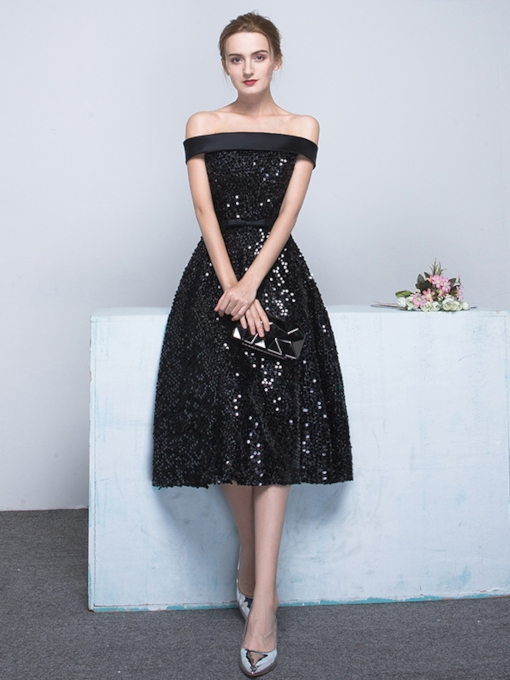 A-Line Off-the-Shoulder Bowknot Sashes Sequins Tea-Length Evening Dress
