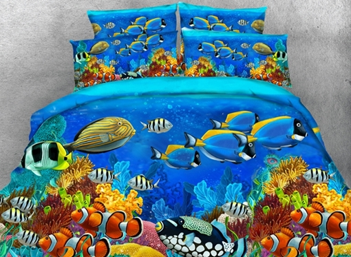Colorful Sea Fish Printed 4-Piece 3D Bedding Sets/Duvet Covers