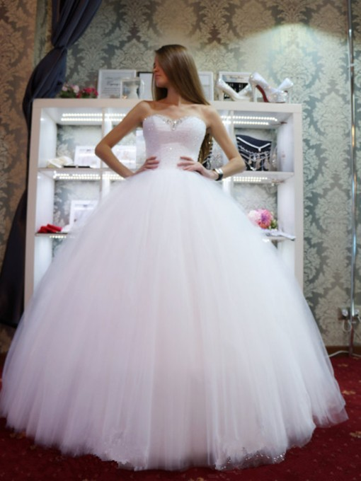 Sweetheart Sequins Beading Ball Gown Wedding Dress 2019