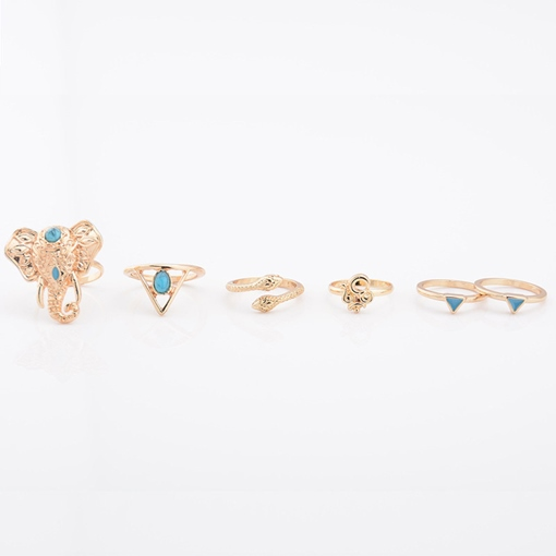 Elephant Design Six Pieces Ring Set