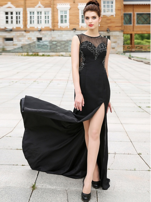 Scoop Beading Rhinestone Split-Front Evening Dress