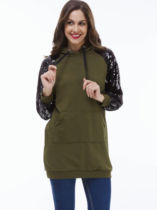 Sequins Mid-Length Pocket Long Sleeve Women's Hoodie